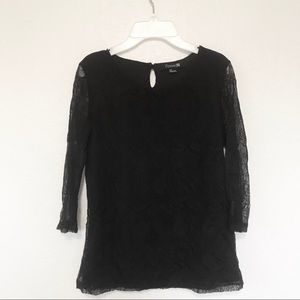 Forever 21 sheer sleeve lace overlay 3/4 sleeve